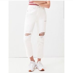 PacSun Ripped High Rise Mom Jeans White